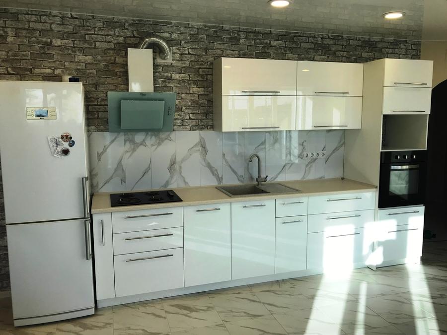 Белый кухонный гарнитур-Кухня МДФ в пластике «Модель 488»-фото1