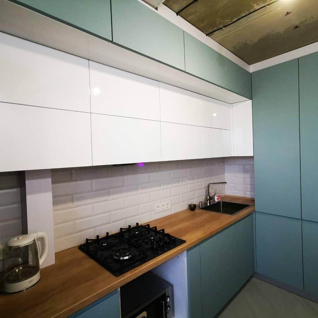Встроенная кухня-Кухня МДФ в эмали «Модель 624»-фото2